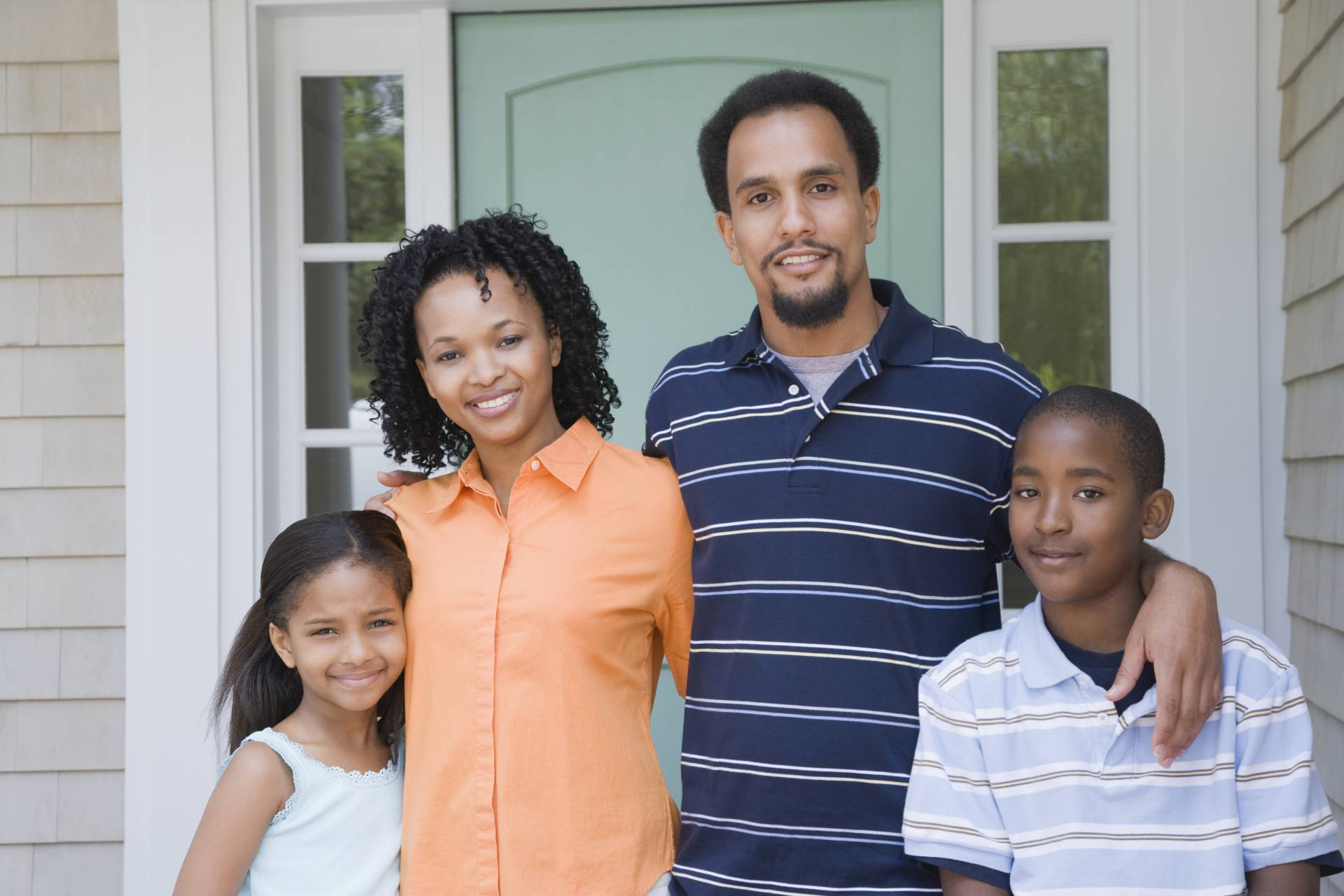 black family of 4 on porch